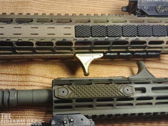 Comparison shot of the NcSTAR, BCM, and Railscales M-LOK railcovers.