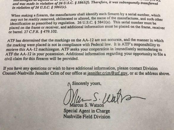ATF AA-12 Machine Gun Letter